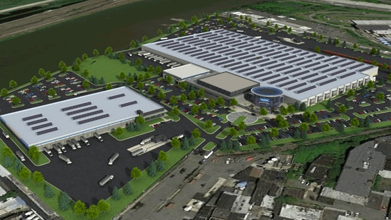 750,000 sf Leed Platinum manufacturing facility located along the Passaic River